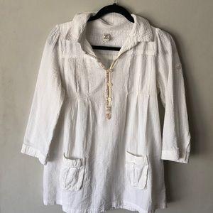 Free People White  gauze tunic size 8
